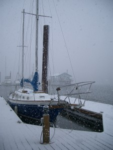 Sailboat in the snow.  St. Helens Marina Winter.