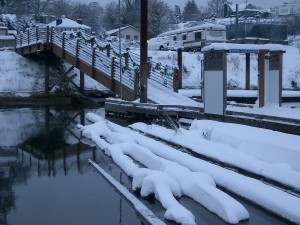 Ramp in snow. St Helens Marina Winter.