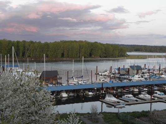 Overview of St. Helens Marina moorage at sunset
