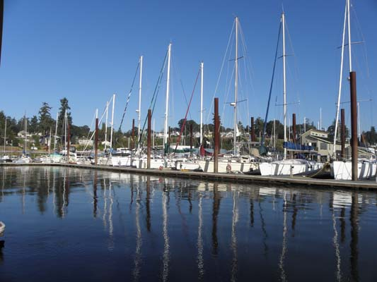 Sailboat moorage at I-dock.